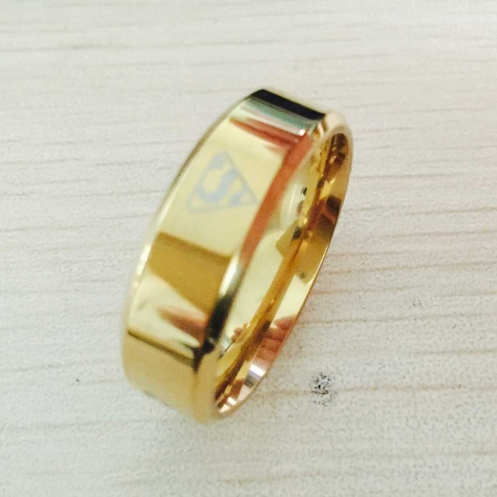 Cool boys girls 8mm 316L stainless steel gold / silver superman ...