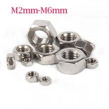 500 PCS-M2/M2.5/M3/M4/M5/M6, DIN934 A2-70 304 Нержавеющая сталь шестиугольная гайка/винт Кепки
