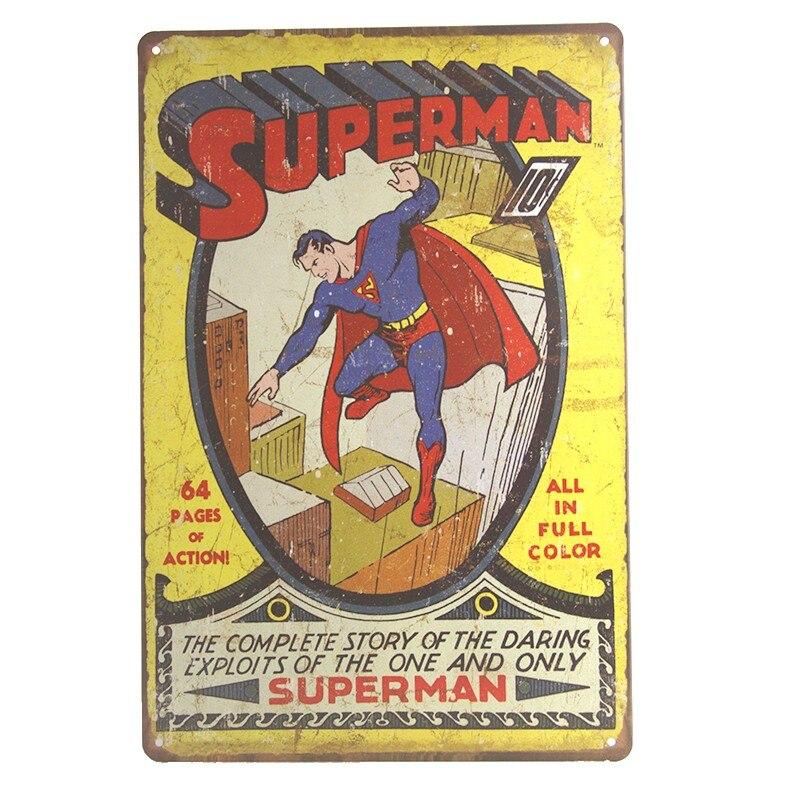 Super Hero Spiderman Batman Hulk Poster Chic Home Decor Vintage Tin Metal Signs Wall Plaque Bar Pub Decorative Plates 20x30cm 5