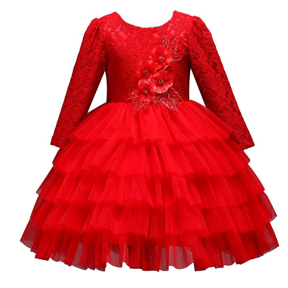 (18m-5y) Baby Kleid Prinzessin Partei Kinder Lange Hülse Spitze Blume Backless Puff Polyester O-ansatz Knie-länge Schönheit Kleid Nachfrage üBer Dem Angebot