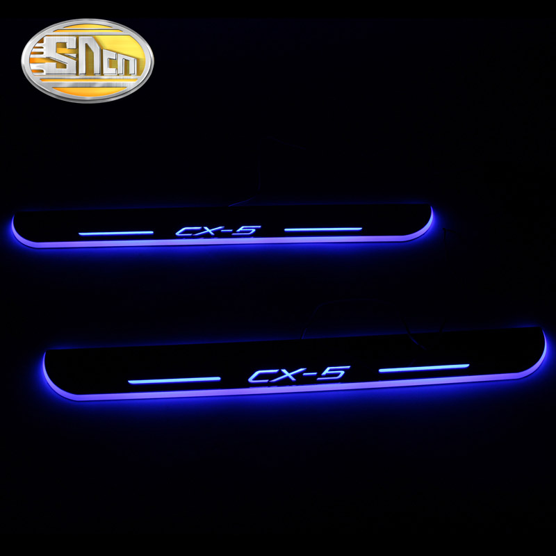 SNCN 4PCS Acrylic Moving LED Welcome Pedal Car Scuff Plate Pedal Door Sill Pathway Light For Mazda CX-5 CX5 2015 2016 2017 2018 car styling welcome pedal led door sill for ford kuga 2013 2014 2015 led moving door scuff plate lighthts front 2pcs accessories