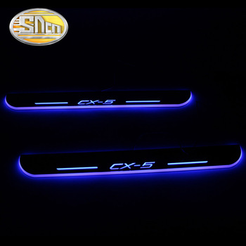 SNCN 4PCS Acrylic Moving LED Welcome Pedal Car Scuff Plate Pedal Door Sill Pathway Light For Mazda CX-5 CX5 2015 2016 2017 2018 sncn 4pcs acrylic moving led welcome pedal car scuff plate pedal door sill pathway light for skoda octavia a5 a7