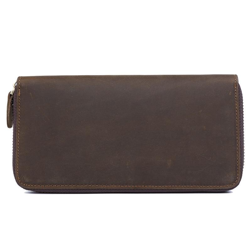 TIDING sac à main rétro avec pochette de monnaie porte-carte homme long marron en cuir véritable zipper portefeuille hommes 4007