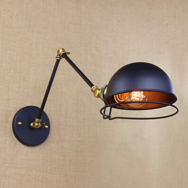 industrial style E27 black Iron swing arm retro wall light antique vintage wall lamps for Living room bedroom