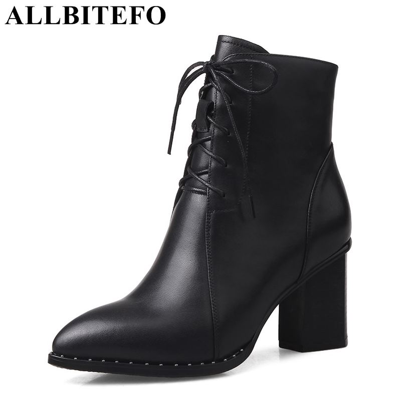 ALLBITEFO thick heel genuine leather pointed toe women boots high heels winter snow boots ankle boots size:34-42 bota de neve allbitefo size 33 43 high quality genuine leather gradient color short women boots pointed toe chains thick heel martin boots