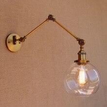 Cam küre Antika Pirinç Loft Endüstriyel Retro Vintage Duvar Lambası Salıncak Uzun Kol Işık Duvar Aplik Armatür Apliques Pared