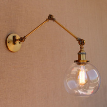 Glass Ball Antique Brass Loft Industrial Retro Vintage Wall Lamp Swing Long Arm Light Wall Sconce Luminaire Apliques Pared loft industiral retro wall lamp glass flower cover iron wall light hotel bar indoor two wooden wall mounted swing arm lights