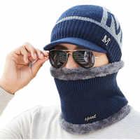 Skullies Beanies Männer Schal Gestrickte Hut Kappe Männlichen Plus Gorras Motorhaube Warme Wolle Dicken Winter Hüte Für Männer Frauen Beanie hut