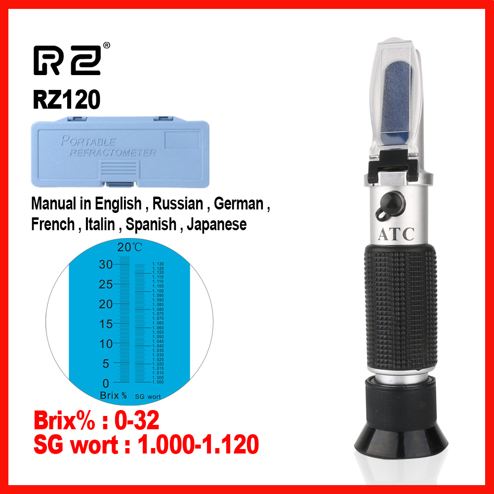 RZ High quality Genuine Refractometer Beer Brix Wort Sugar Alcohol Specific Gravity Handheld Tool Hydrometer RZ120 цены онлайн