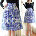 Women Blue&White Porcelain Zipper Elastic Waist Pleated A-Line Swing Midi Skirt Knee Length