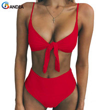 BANDEA  2019 Sexy High Waist Bikini Women Swimsuit Solid Push Up Swimwear Cut Biquini Beach Bathing Suit Bowknot