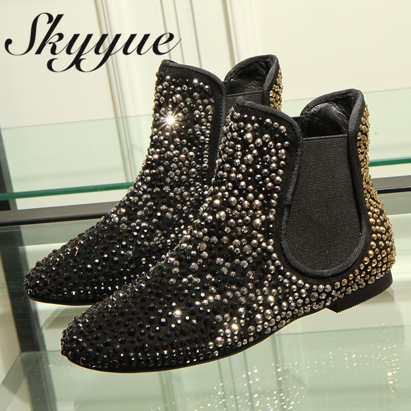 SKYYUE New Genuine Leather Metal Crystal Metal Studded Women Atumn Winter Boots Round Toe Slip On Shoes Women ankle Boots riding winter boots feathers 2015 new fashion korean metal decoration genuine leather elevator pull on pure color round toe