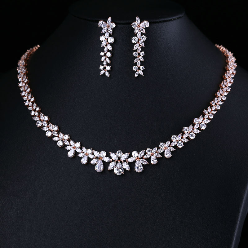 ZIRCON EARRINGS Jewelry-Set NECKLACE ACCESSARIES Wedding-Dress CRYSTAL BRILLIANT AND