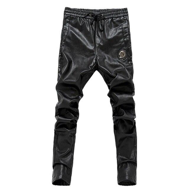 2017 Новые slim fit мужчины кожаные штаны молния тощий мужские брюки упругие талии брюки мотоцикла 28-36 AYG178