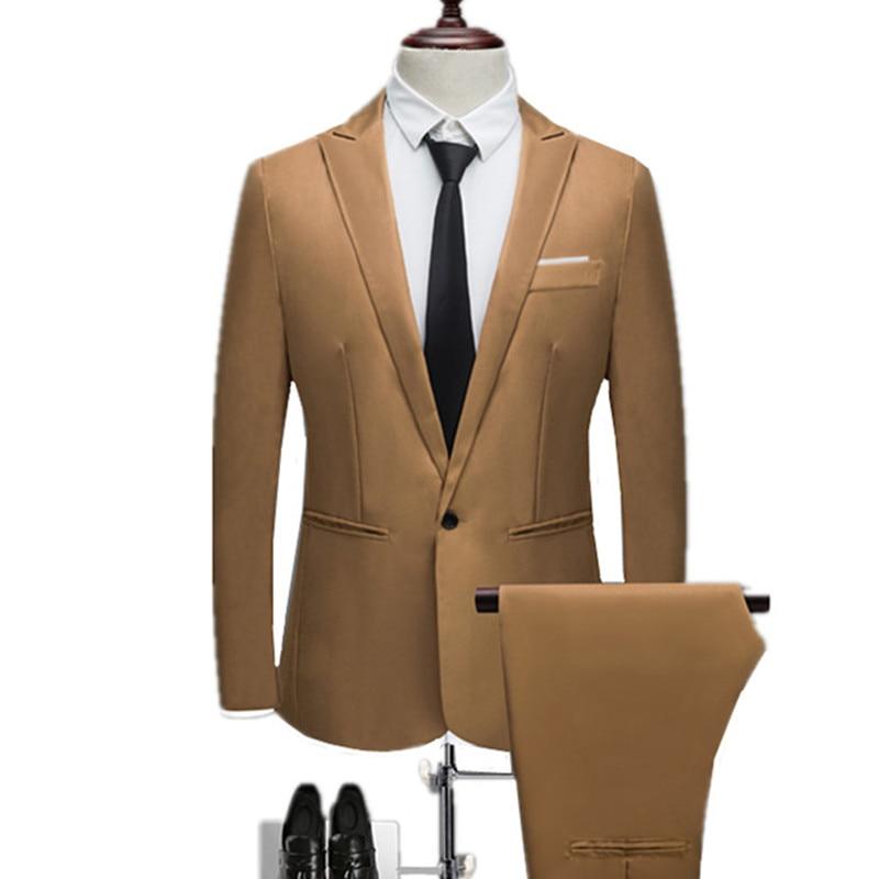 Blazers + Pants 2 Pieces Set / 2018 Fashion New Men's Casual Business Dress Suit Slim Fit Solid Color Suits Jacket Coat Trousers