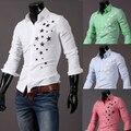 2014 2015 Mens camisas de vestido elegante confort hombres manga larga camisa estrella impresión de algodón de manga larga camisa delgada M ~ XXL