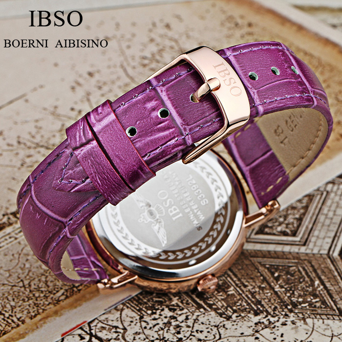 IBSO Merk Mode Dameshorloges Lederen band Horloge Dames Luxe Kristal - Dameshorloges - Foto 6