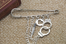 12pcs Sherlock inspired handcuffs umbrella themed charm with chain kilt pin brooch 50mm