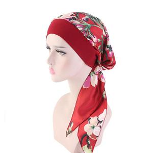 Image 3 - สตรีมุสลิม Hijab มะเร็ง Chemo หมวกดอกไม้พิมพ์หมวกผ้าโพกศีรษะผมหัวผ้าพันคอผ้าพันคอ Pre Tied Headwear ยืด Bandanas
