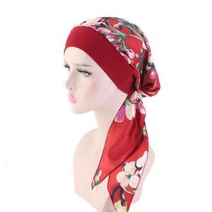 Image 3 - Womens müslüman başörtüsü kanser kemo çiçek baskı şapka türban kapatma başlığı saç dökülmesi başörtüsü Wrap önceden bağlı şapkalar streç Bandana