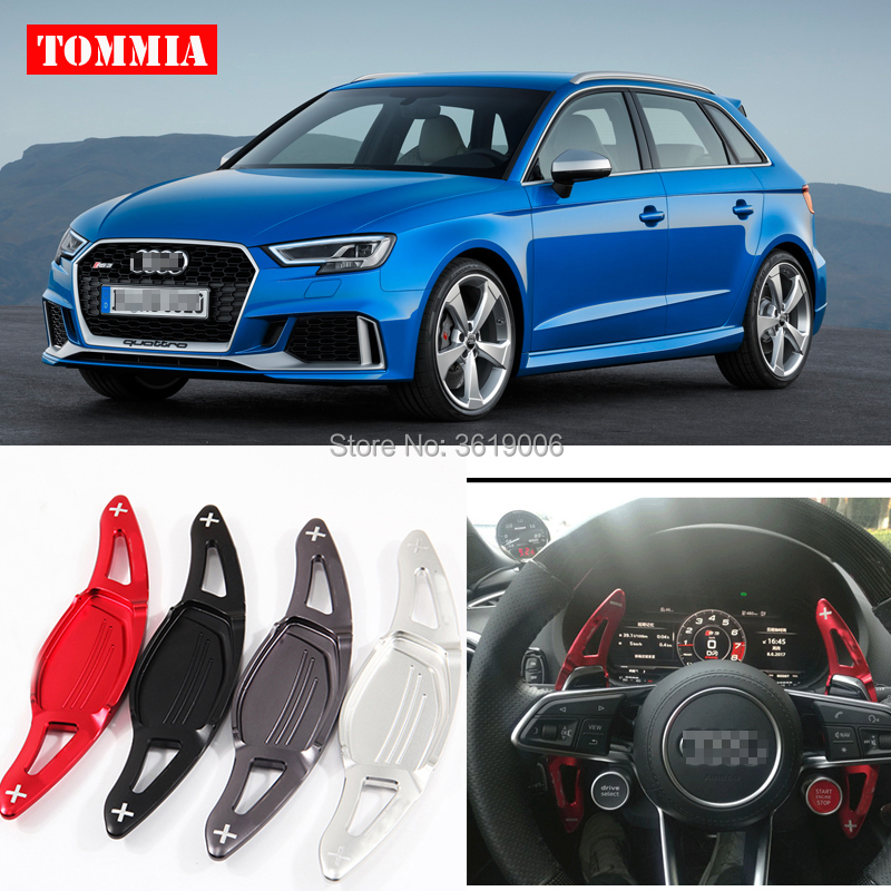 цена на tommia For Audi RS3 2017-2018 RS4 2018 RS5 2017-2018 2pcs Steering Wheel Aluminum Shift Paddle Shifter Extension Car-styling