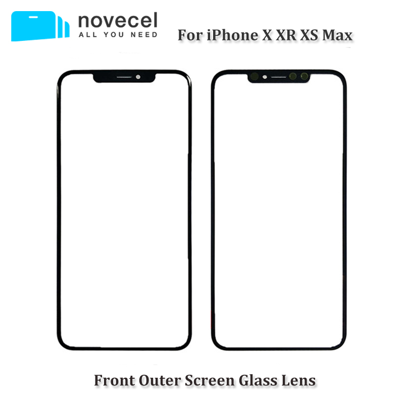 Novecel Black Ori Cold Press Front Screen Glass with For iPhone X XR XS Max Outer Glass Lens Replacement Repair Parts