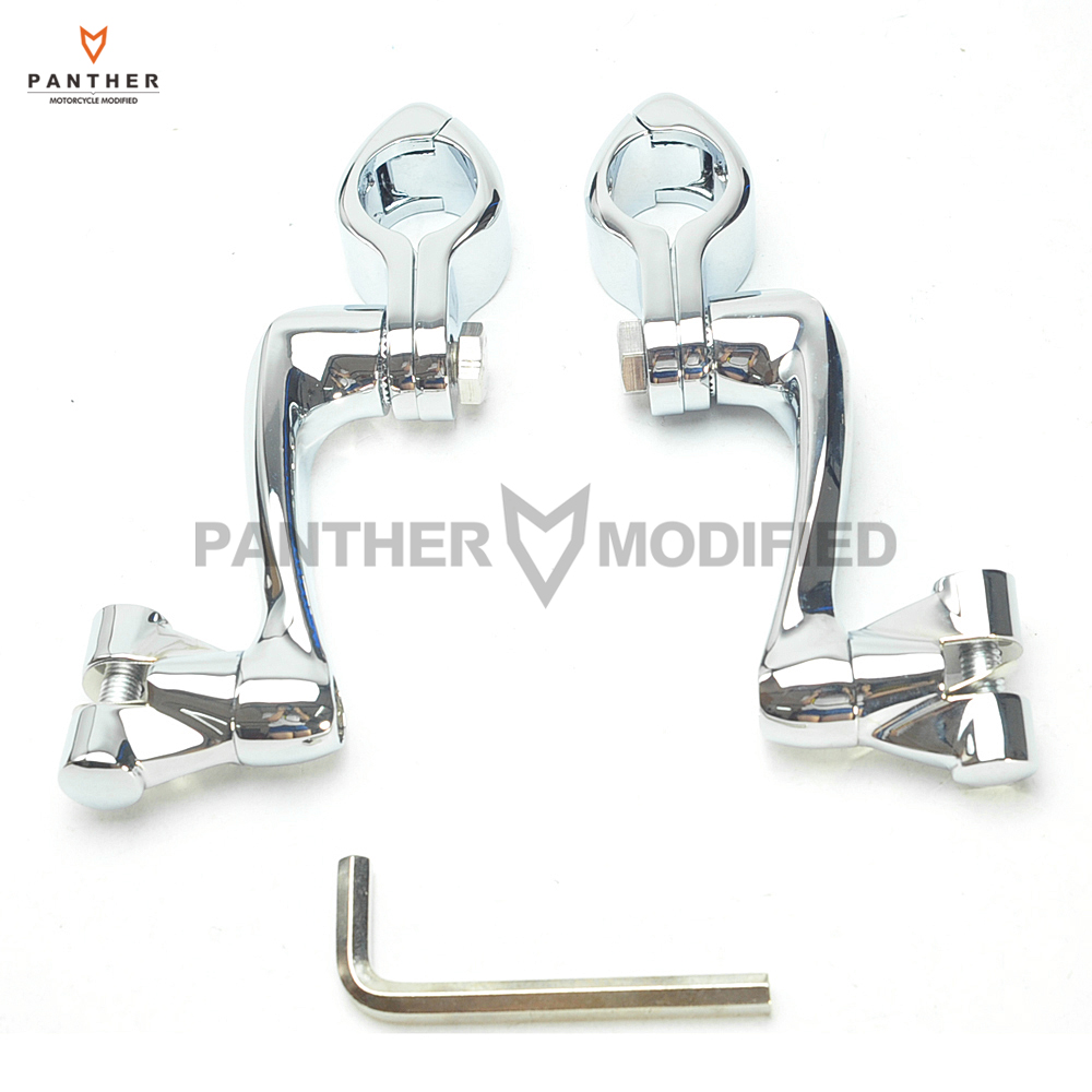 1-1/4 32mm Chrome 360 Degree Adjustable Highway Motorcycle Foot Pegs Mounting Kit Moto Foot Rest case for Harley