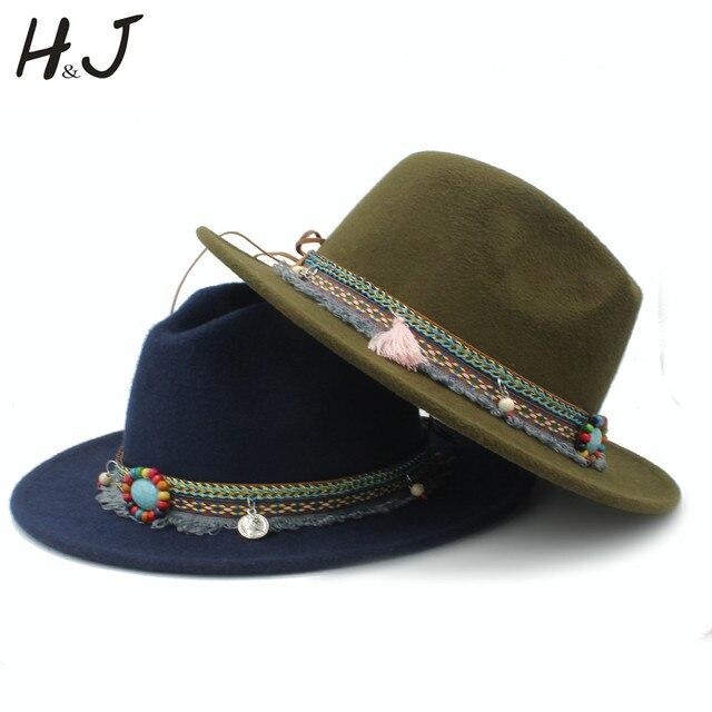 9495717a670 Fashion Wool Women Men Outback Fedora Hat With Tassel Bohemia Ribbon For Elegant  Lady Jazz Church Godfather Sombrero Caps