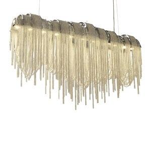 Image 2 - 現代の高級タッセルledシャンデリアシルバーゴールドアルミチェーンG9 シャンデリアランプlamparas光沢新デザインhanglamp