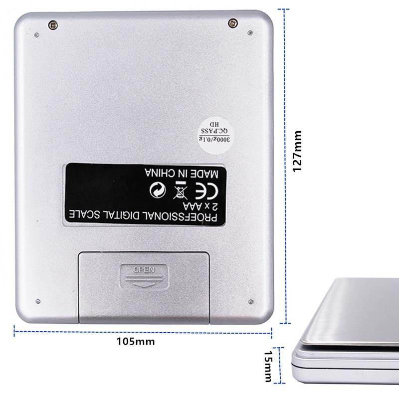 3000g x 0,1g Digitaalne taskuskaala 3kg 0.1 Juveeli kaalud - Mõõtevahendid - Foto 2