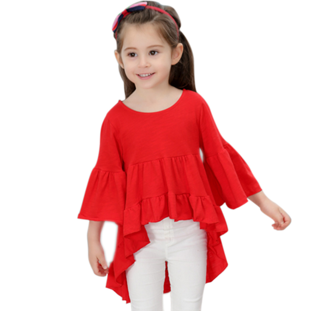 1-7Y Kids Baby Girl Long Sleeve O Neck T-shirt Ruffle Frill Top Princess Blouses