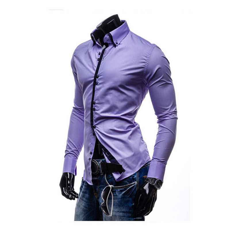 a4f54956e67 XXXL 2015 Cotton Dark Blue Long Sleeve Dress Shirts Men New Arrival Fashion  Double Collar Office Professional Slim Chemise Homme-in Casual Shirts from  Men s ...
