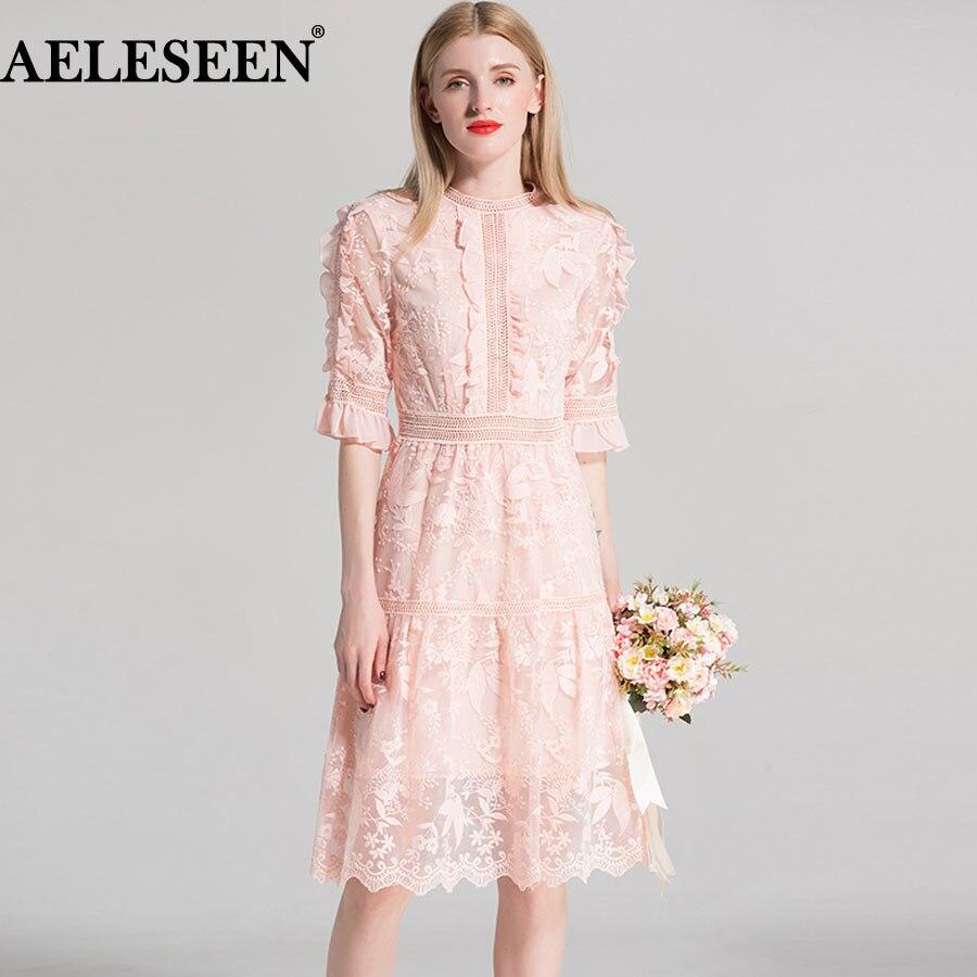8db8852e3f6 De Robes D été Maille Femmes Haute Mode Qualité Rose 2018 Évider Luxe  Élégant Fusée Robe ...