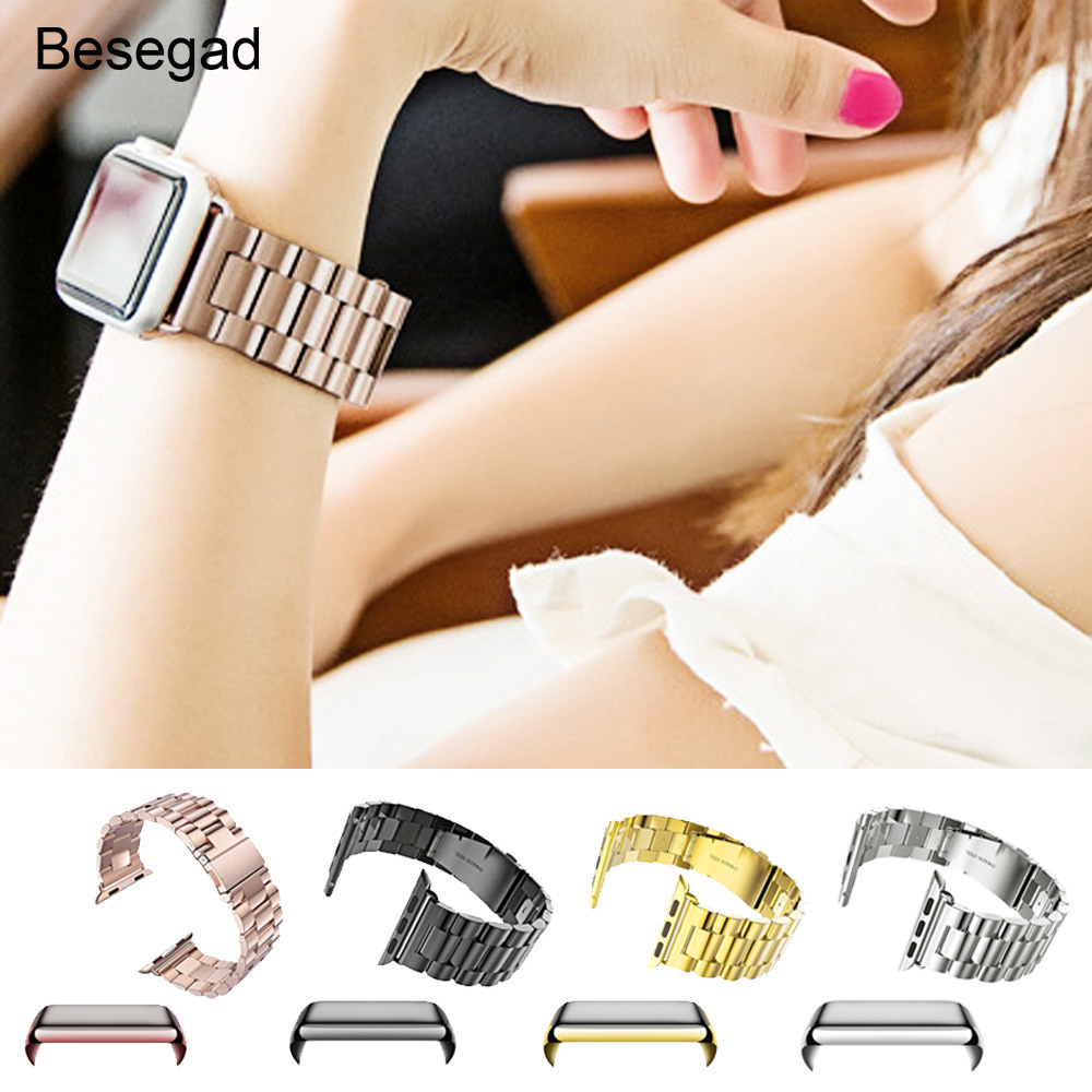 Besegad Stainless Steel Band Strap Case Cover Skin Shell Screen Protector Film for Apple Watch iWatch Series 1 2 3 4 38mm 42mm