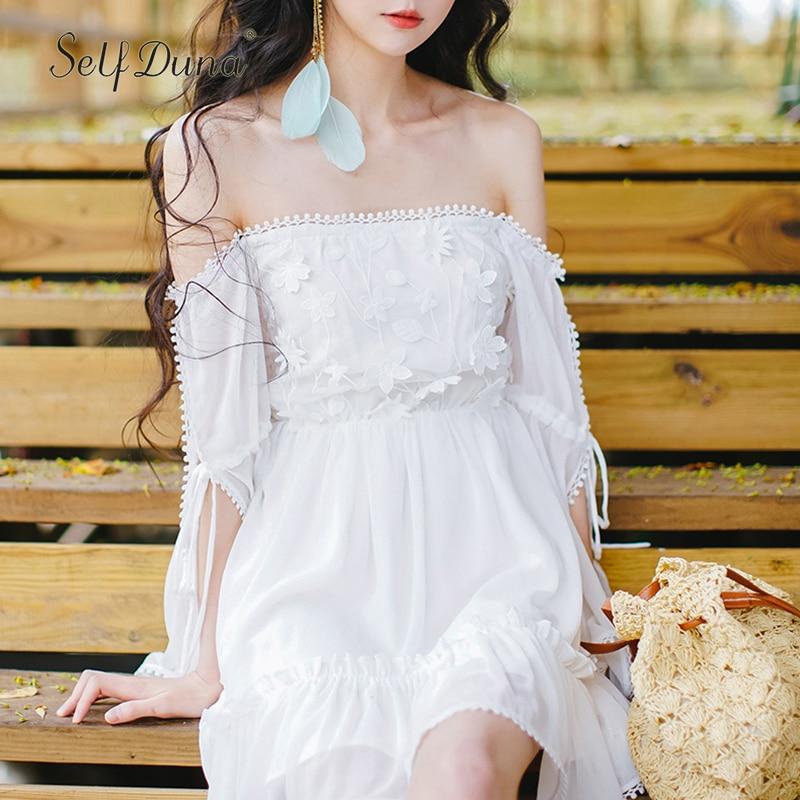 Self Duna 2018 Summer Women Boho Short Dress White Chiffon Dresses Floral Embroidery Crochet Sexy Off Shoulder Mini Beach Dress