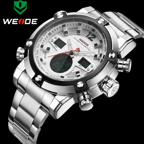 Watches Men WEIDE Brand Men Sports Full Steel Watch Men's Digital Quartz Clock Man Army Military Wrist watch relogio masculino brand amuda fashion digital watch men led full steel gold mens sports quartz watch military army male watches relogio masculino