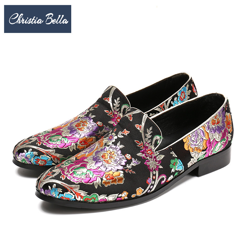 Christia Bella Fashion Wedding Party Men Loafers Floral Embroidery Banquet Formal Dress Shoes Slip on Plus Size Men Flats Shoes floral plus size chiffon formal dress