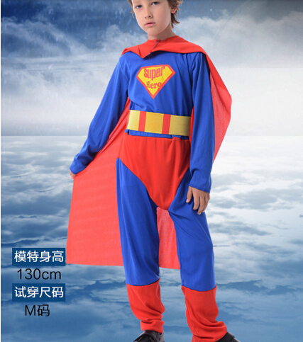 110-140cm hot sell  boy role-play super hero party Halloween cosplay performance clothing+cloak Kid super hero  for 3-12 years