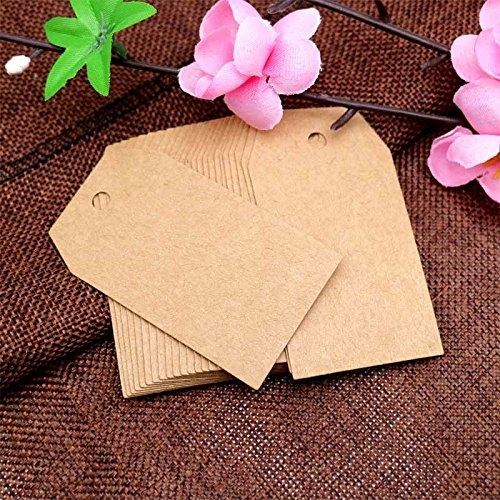 100pcs brown Kraft paper tags with hole for wedding or party decoration gift tags and Packaging Hang Tags is customized labels 5