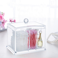 Clear Acrylic Cotton Swab Box Cosmetic Storage Case Cotton Pad Makeup Organizer Q-tip Holder Bathroom Storage Box