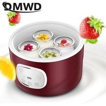 DMWD Автоматическая электрическая Йогуртница DIY Natto Leben Rive вино многофункциональная машина из нержавеющей стали лайнер 4 йогурта чашка 1Л ЕС