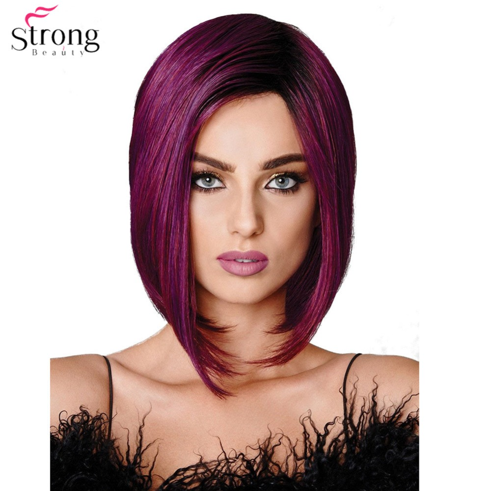 StrongBeauty Women's Wig Synthetic Hair Burgundy Purple Medium Bob Hairstyle Natural Wig