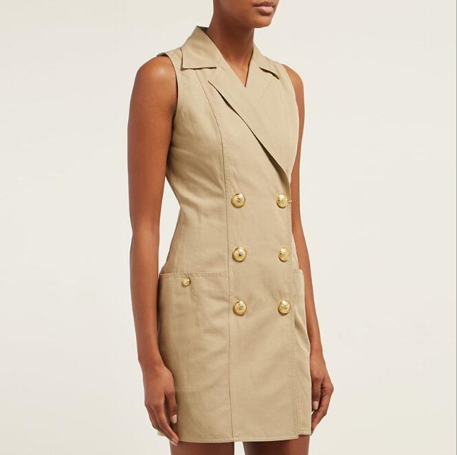 Kaki couleur dames Slim Bouble boutonnage cranté bureau dame robe sans manches piste mode robe de haute qualité