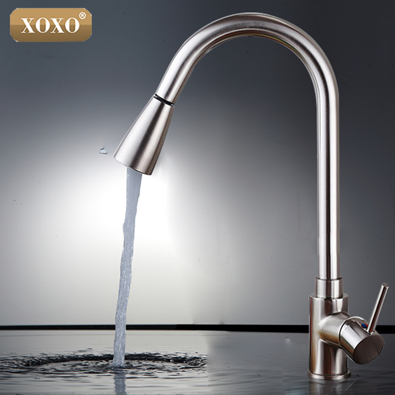 XOXO Deluxe Pull out Spray Kitchen Faucet Mixer Tap,Pullout Sprayer Kitchen Faucet SATIN NICKEL BRUSHED brass material 83011S xoxo kitchen faucet brass brushed nickel high arch kitchen sink faucet pull out rotation spray mixer tap torneira cozinha 83014