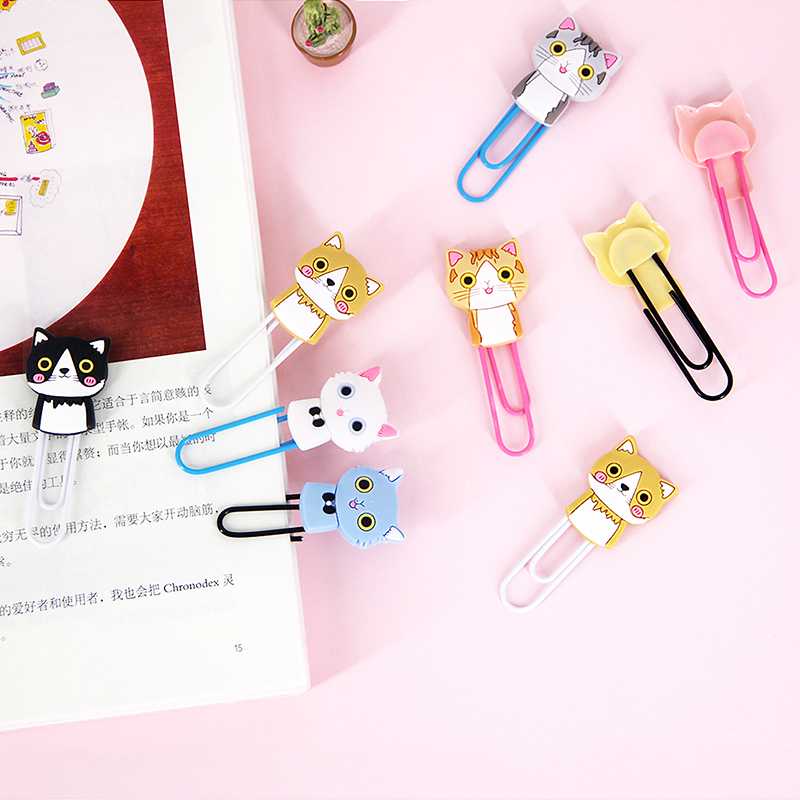 New 9pcs/lot Kawaii Vintage Lipstick Perfume Cat Metal Silicone Paper Clip Decorative Bookmarks Gift School Office Stationery