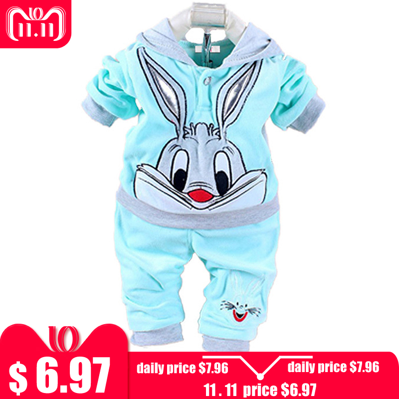 Newborn Baby Boys Clothes 2018 Warm Autumn Winter Baby Girls Clothes Rabbit Hoodie+Pants Outfits Suit Baby Infant Clothing Sets baby boys girls clothes set autumn winter warm outfits deer tops hoodie tops pants cute animals kids baby boy clothing sets