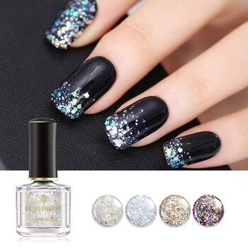 84537db208 Nacido bastante brillo de esmalte de uñas de Holo vacaciones lentejuelas  Bling plata arte de uñas