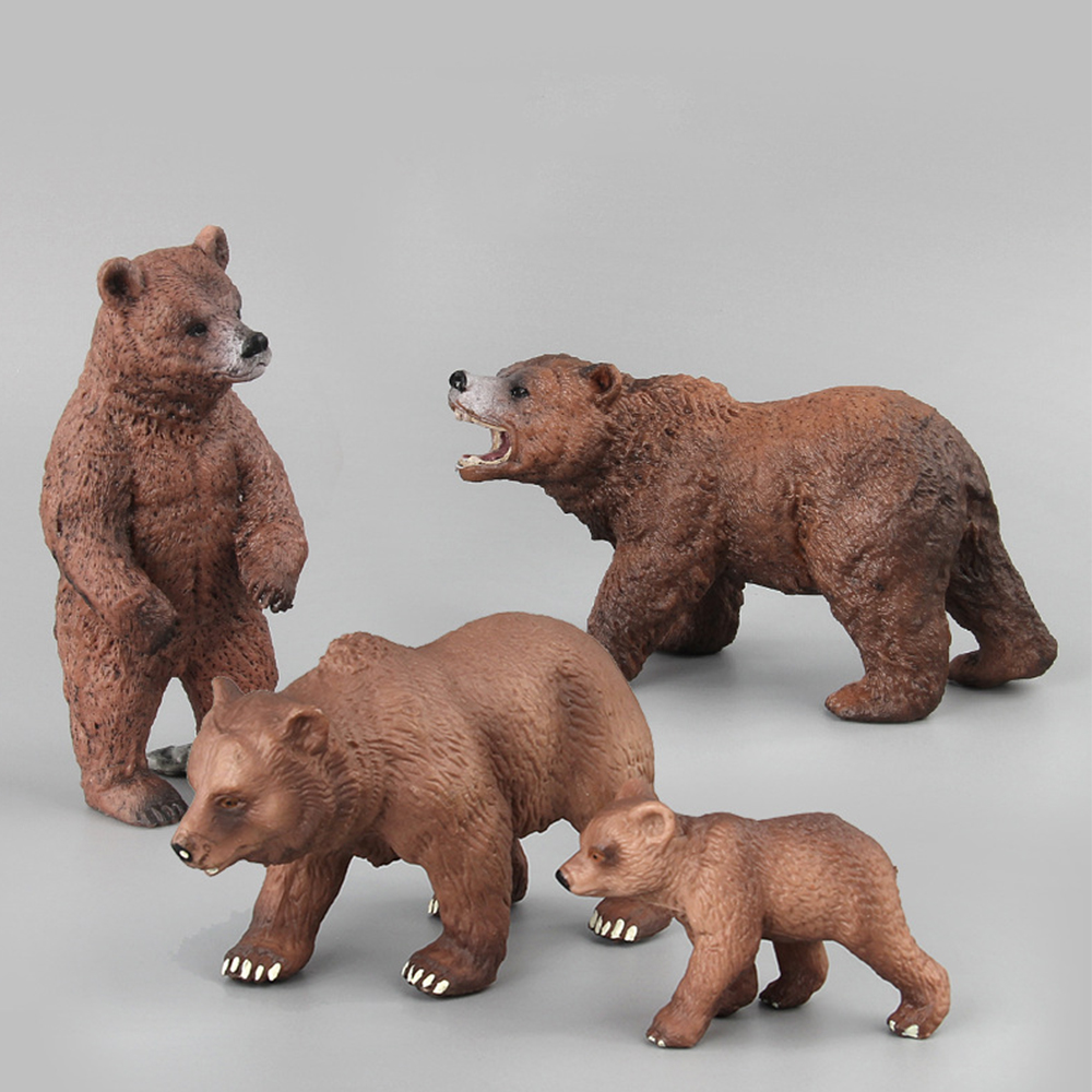 Simulation Wild Life Bears Toys Children Baby Kids Animal Action Figures Brown Bear Fun Toy Figures Home Decor Collection Lover