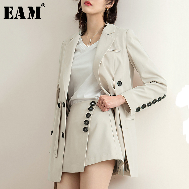 EAM 2019 New Spring Summer Lapel Long Sleeve Beige Brief Button Split Joint Loose Jacket