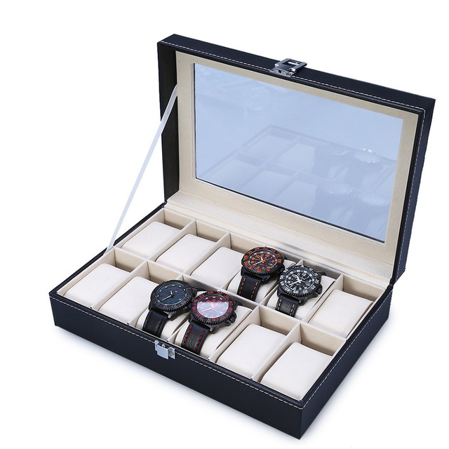 2018 High Quality PU Leather 12 Slots Wrist Watch Display Box Storage Holder Organizer Watch Case Jewelry Dispay Watch Box u7 watch holder and jewelry organizer box chic storage drawer case black high quality pu leather gift for men women ob08